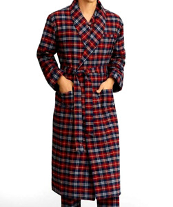 ICONIC BROOKS BROTHERS Red Plaid PURE COTTON/ Flannel Robe. New With Tags*US 2XL