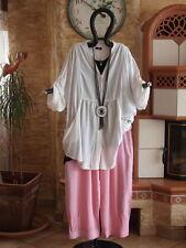 1820 LABASS Lagenlook Ballon Hose Viskose Mix unifarben rosa pink L XL 44 46 48