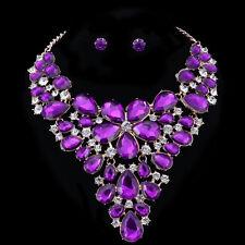 Purple Austrian Crystal Earring Necklace Bridal Wedding Party Golden Jewelry Set