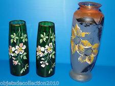 3 VASES en VERRE et PATE de VERRE  PEINTS ART DECO 1930/40 fleurs dont 1 paire