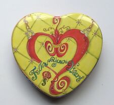 """BRIGHTON - COLLECTIBLE """"FOLLOW YOUR HEART"""" HEART SHAPED TIN CONTAINER!"""