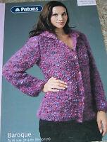 Original Patons Baroque Knitting Pattern Lady's Collared Jacket