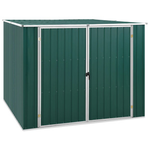 Large Outdoor Secure Garden Shed Green 195x198x159 cm Galvanised Steel