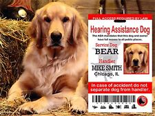 USA Service Dog ID Card, ADA Dog Plastic Card, Hearing Service Dog Plastic Card