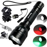 Red/Green/White Hunting LED Weapon Flashlight Light Rifle Gun Switch Torch Lamp