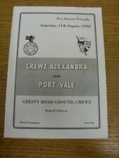 11/08/1990 Crewe Alexandra V Port Vale [amigable] (cuatro páginas, doblado, equipo Chan