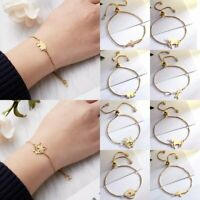 Gold Stainless Steel Adjustable Bracelet Women Family Bangle Chain Jewelry Gift