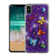 """For iPhone XS Max 6.5"""" Colorful Butterfly Purple Glitter Stars Liquid Case Cover"""