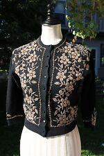 Vintage 50s Gold Floral Beaded Wool Cardigan