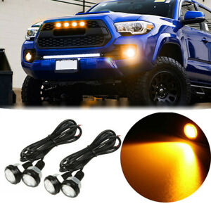 4Pcs For Chevy Colorado Silverado Ford Raptor SVT Style LED Amber Grille Light