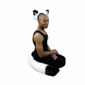 PAWSTAR Fox Ear & Full Tail Set - White Furry Halloween Costume [WH/BK]4001
