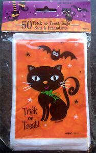 50 x Halloween Black Cat Loot Treat Party Bags trick or treat Mini 10 x 15cm