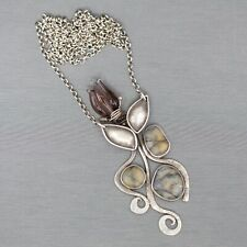 Rebecca Bashara Amethyst Glass and River Rock Tulip Necklace in Sterling Silver