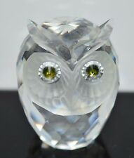 VTG 1979 Swarovski Silver Crystal Figurine OWL 7636 NR 046 Green Yellow Eyes