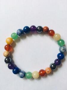 Genuine 7 Chakra Bracelet Real crystal Gemstone Healing Stones Bead bracelet UK