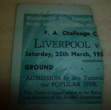 TICKET: 1949/50 FA CUP SEMI FINAL  LIVERPOOL v EVERTON @ MANCHESTER CITY (RARE)