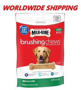Milk-Bone Brushing Chews Dental Dog Treats Large Breed 8.1 Oz 6 Ct WORLD SHIP
