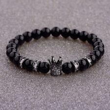 New Brand Trendy Imperial Crown Black Bracelets Men Natural Stone Stone Beads