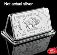 Buffalo .999 Fine German Silver Bar 1oz One Troy Ounce  Bullion Collectible
