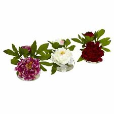 Silk Artificial Fake Peony Flower Arrangements W/ Glass Vase - Set of 3