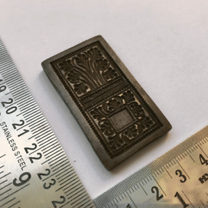 Antique or old bell metal jewelry stamp die seal.