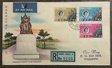 Hong Kong Private FDC cover 1962 Stamp Centenary blue reg label to Singapore