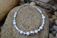 Handmade bracelet with Sterling Silver & White Jade.