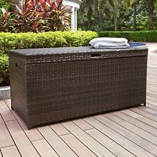 Crosley Furniture Palm Harbor Outdoor Wicker Storage Bin in Dark Brown New