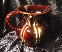 Retro West Germany Brown Studio Pottery Jug w/ Various Colours Details ( 328/72)