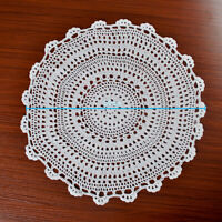 Crochet Tablecloth Floral Lace Table Cover Doilies Table Mats Round White 19.7''