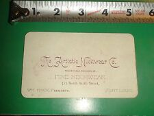 ZU063 Vintage Business Card Ad The Artistic Neckwear Co St. Louis MO