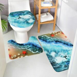 3/4* Bathroom Shower Curtain Non-Slip Rug Toilet Lid Cover Washroom Bath Mat Set