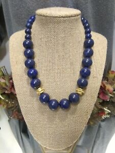 Signed Susan Shaw Designer 24K Gold Plated Graduated Lapis Stone Bead Necklace