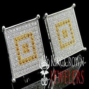 GOLD FINISH MENS LADIES SQUARE STYLE EARRING STUD MICRO PAVE 15 MM SCREW BACK