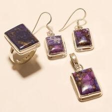 Arizona Purple Copper Turquoise Earrings Pendant Ring 925Sterling Silver Jewelry