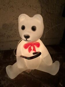 """Vintage 1988 Union Products Christmas Lighted White Bear with Cane Blow Mold 17"""""""