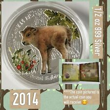 2014 Niue $1 European Bison Forest Babies 1/2 oz 999 Silver Coin w COA and BOX