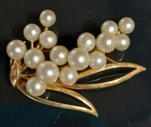 Vintage 1950's 44mm 14ct 14K Yellow Gold Akoya Pearl Brooch 16 Pearls Hallmarked