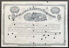 CLEVELAND & MARIETTA RAILROAD Stock 1882 Marietta - Cambridge - Dover, Ohio VF++