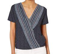 Lucky Brand Womens Top Blue Size XS Blouson Stripe Floral Surplice Wrap $59 505