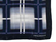 """NWT EMPORIO ARMANI FOULARD scarf pure silk blue white check luxury Italy 53.5"""""""