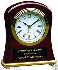 Rosewood Piano Finish Desk Quartz Clock With Alarm & Free Personalization