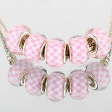 Pink white plaid 5pcs SILVER MURANO bead LAMPWORK fit European Charm Bracelet