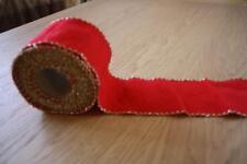 Aida-Stickband,rot, mit goldenen Bogenrand, 8 cm Breit
