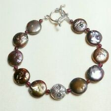 PEACOCK COIN PEARL, GARNET, STERLING SILVER OWL TOGGLE BRACELET - ONE OF A KIND!