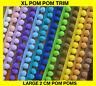 LARGE pom pom trim fringe 35 mm total width XL 2cm pom poms best quality & price