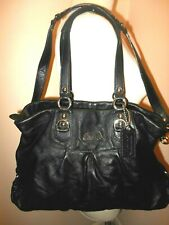 Coach Leather Signature Ashley Shoulder Bag Satchel Carryall Black Large F15513