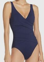 $339 Tommy Bahama Women's Blue Underwire Wrap Front One-Piece Swimsuit Size 10