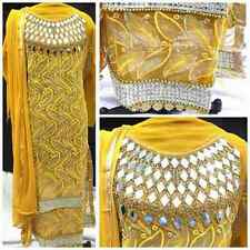 Yellow Designer Heavy Embroderied Georgette Dress Material