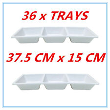 36 x WHITE MELAMINE SERVING PLATTER 3 SECTION CONDIMENT CATERING TRAY 37X15CM Fd